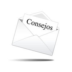Icono sobre blanco con carta con texto Consejos