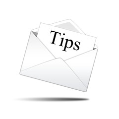 Icono sobre blanco con carta con texto Tips