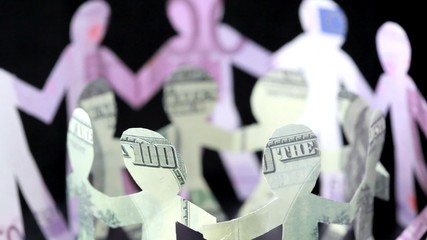figures of people made of money, keep for hands and rotate