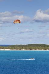 Parasailing boat in the Bahamas