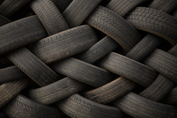 Stack of old tires at a speed shop