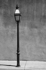 Adobe Wall and Streetlight - Black and White