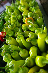Green Peppers on Display at a Market