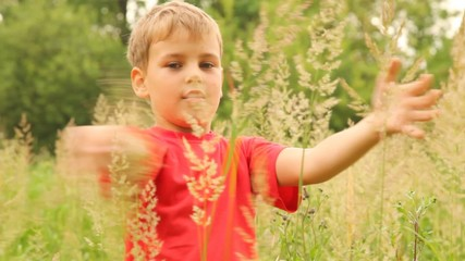 boy is touching the tops of different plants