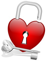 Cuore Lucchetto con Chiave-Heart Lock and Key-Vector
