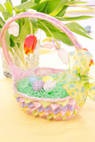Easter holiday Painted eggs in basket