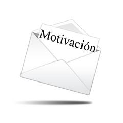 Icono sobre blanco con carta con texto Motivación