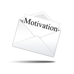 Icono sobre blanco con carta con texto Motivation