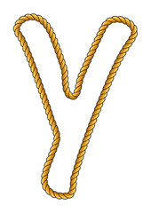 Navy Sailor-Style Isolated Rope Alphabet Letter Y