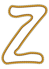 Navy Sailor-Style Isolated Rope Alphabet Letter Z