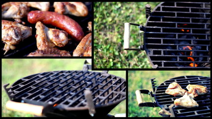 Grilling chicken and sausage, montage