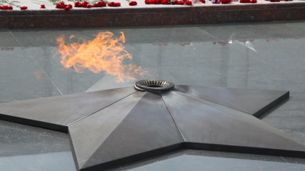 close-up shot of eternal fire on monument