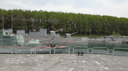 panning of navy exhibition on Poklonnaya Hill in Moscow