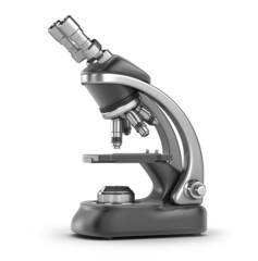 Modern scientific microscope isolated on white