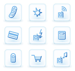 Mobile phone web icons set 1, square ice buttons