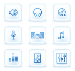 Sound web icons, square ice buttons