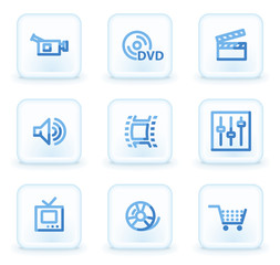 Video web icons, square ice buttons