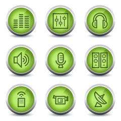 Media web icons, green glossy set