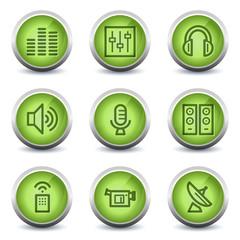 Media web icons, green glossy set