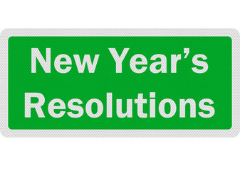 Photo realistic sign announcing 'New Year's Resolutions', isolat