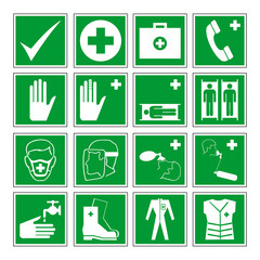 Green emergency signs vector