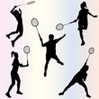 silhouette of badminton players - vector