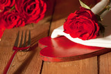 Place setting with a heart in country style