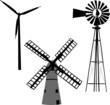 silhouette of windmill - vector - 28719711