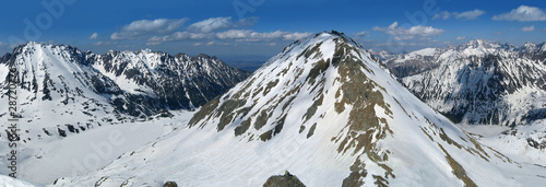 Panorama of the of the winter Tatra Mountains