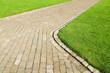 Leinwandbild Motiv Weg, Naturstein, Rasenfläche, Parkanlagen, Grünflächen