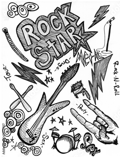 Rock star hand drawings