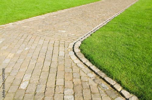 Weg, Naturstein, Rasenfläche, Parkanlagen, Grünflächen - 28721981