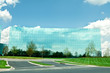 Ultra Modern Mirrored Glass Office Building in Maryland Blue Sky
