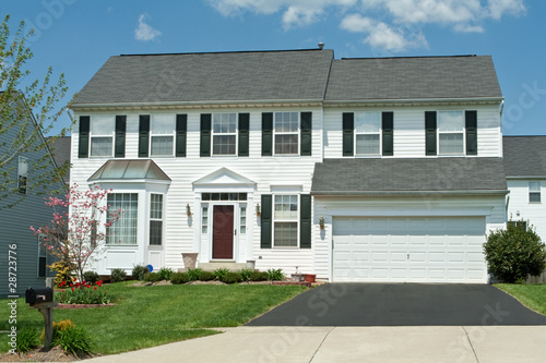 Front Vinyl Siding Single Family House Home, Suburban Maryland