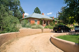 Brick Home Santa Fe, New Mexico Gravel Drive Adobe Wall poster