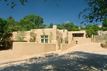 Exterior of a Modern Adobe Santa Fe, New Mexico Home