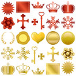 Gold and red design ornaments set