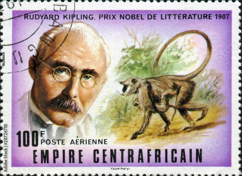 Poster Rudyard Kipling, prix Nobel de littérature 1907.