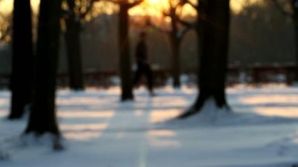 Jogger runs on a wintery way