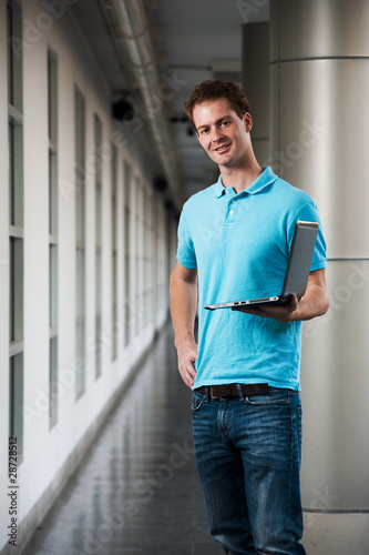 Smiling College Guy Beautiful Campus Stylized