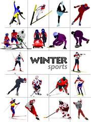 Big set of Winter sports. Vector illustration