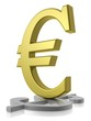 Golden Euro dominating silver Dollar
