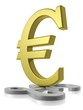 Golden Euro dominating silver Pound sterling