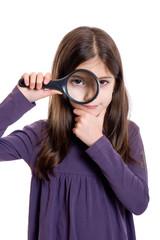Girl holding magnifying glass-ragazza con lente