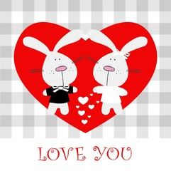 Love you rabbit, bunny, Valentine's day