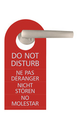 Large Red Isolated Do Not Disturb Tag, Multilingual