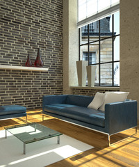3d Loft Rendering Sofa Leder blau