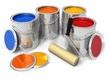 Cans with color paint and roller brush - 28739365