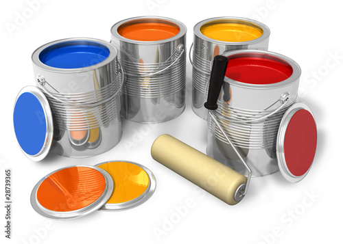 Cans with color paint and roller brush
