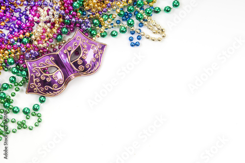 Leinwanddruck Bild Mardi Gras mask and beads